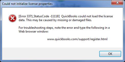 error message - quickbooks error code 3371 status code 11118