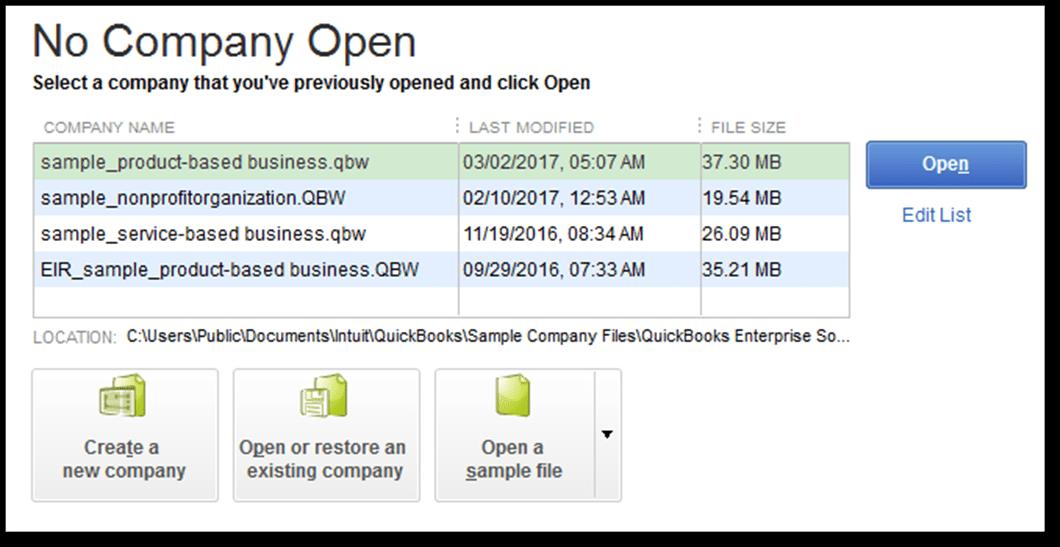 no company open message - screenshot