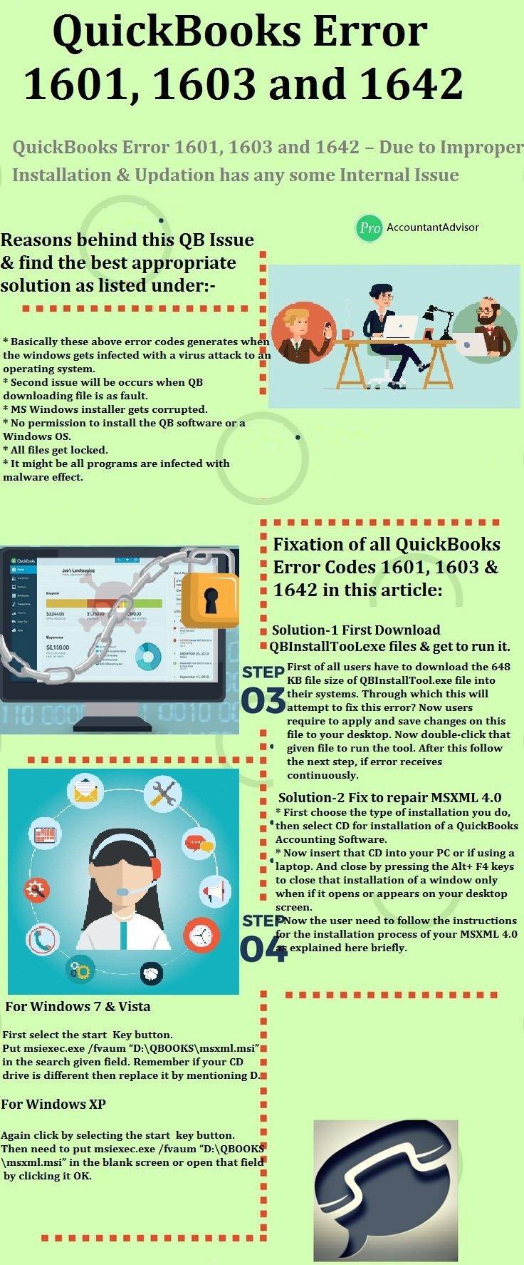 QuickBooks Error 1601 1603 and 1642 Pro Accountant Advisor Infographics
