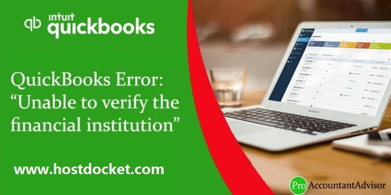 QuickBooks Error-Unable to verify the financial institution