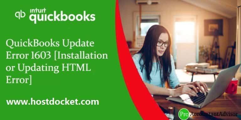 QuickBooks Update Error 1603 Installation or Updating HTML Error