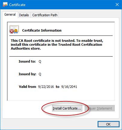 Install certificate - Screenshot