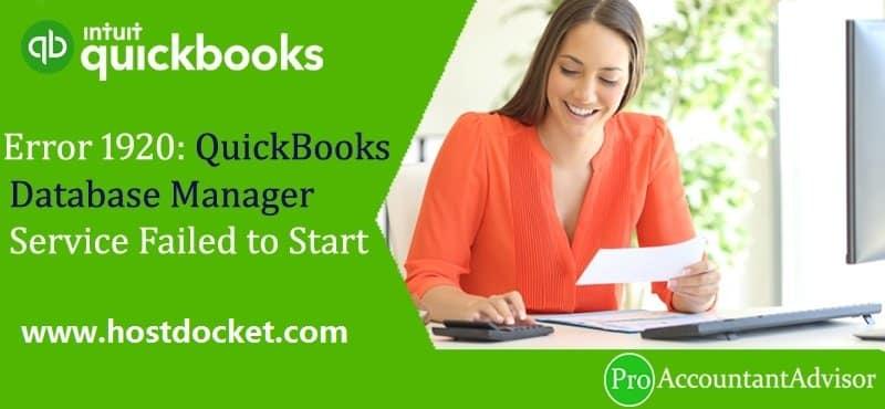 Error 1920-QuickBooks Database Manager Service Failed to Start