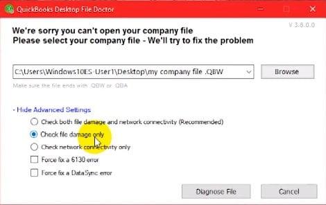 QuickBooks File Doctor Check Damage File - Screenshot
