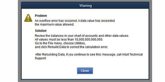 QuickBooks Overflow error - Screenshot
