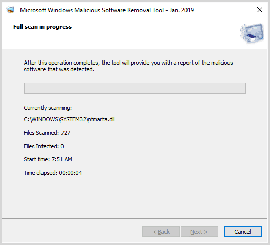 Scanning the system for possible malware or virus attack - Screenshot