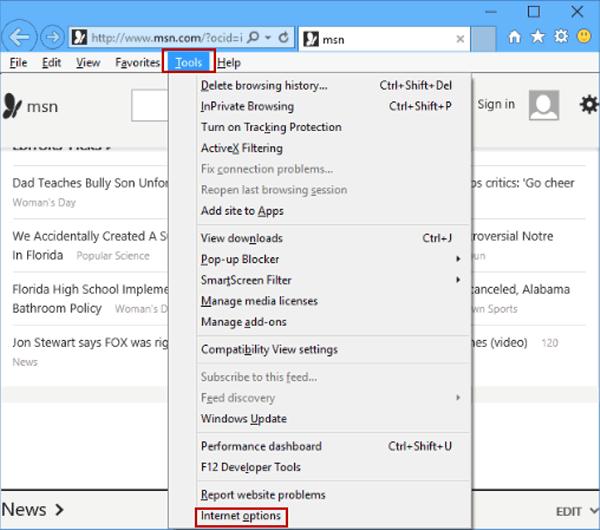 Choose internet options in IE - Screenshot