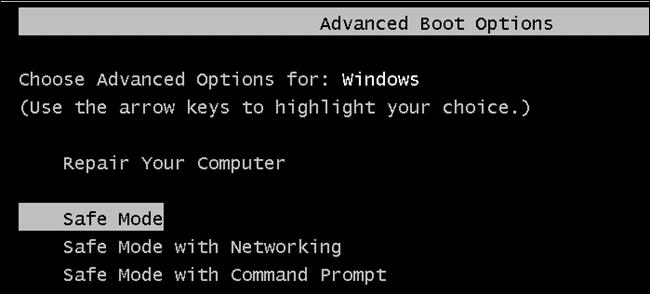Run Windows in Safe Mode - Screenshot