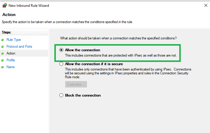 Allow the connection - Screenshot
