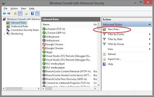 Create a new rule in firewall settings - Screenshot