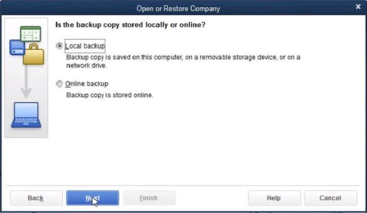 Local Backup option - Screenshot