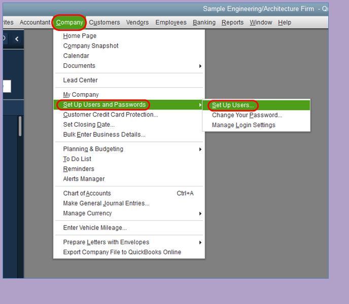 Set up users and passwords - Screenshot Image