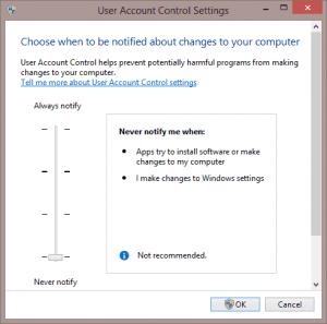 Toggle User Account Control settings - Screenshot