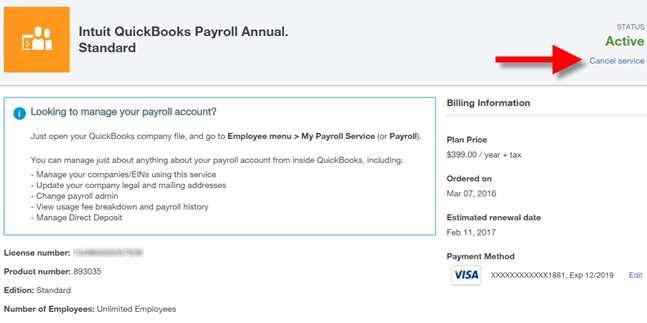 Cancel QuickBooks payroll service - screenshot