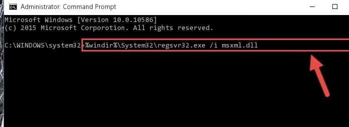 type regsvr32 MSXML6.dll - Screenshot