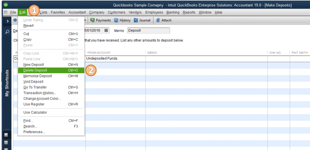 Delete a Check from a Deposit in QuickBooks - Screenshot
