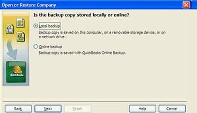 Restore a (.qbb) File in QuickBooks - Screenshot
