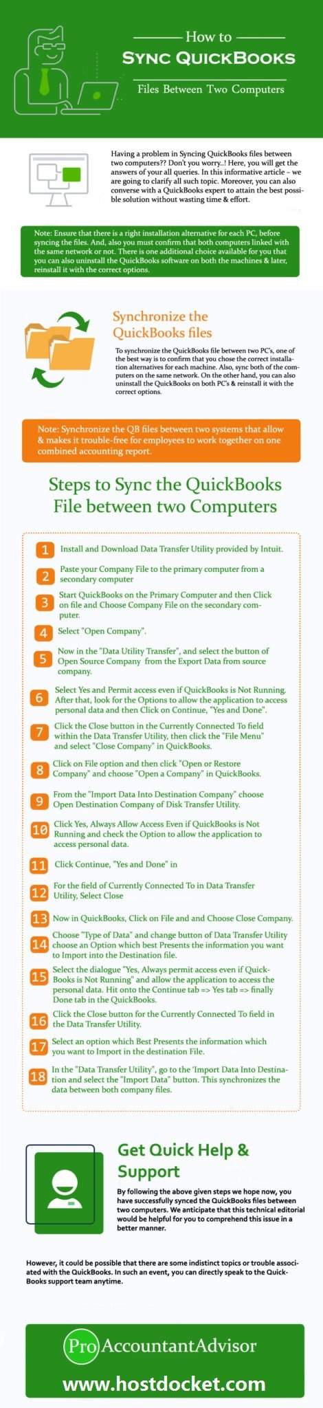 Steps to Sync QuickBooks Files Between Two Computers - Infographic