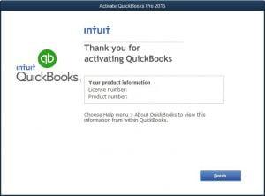 Activate QuickBooks Desktop (Thanks Message)