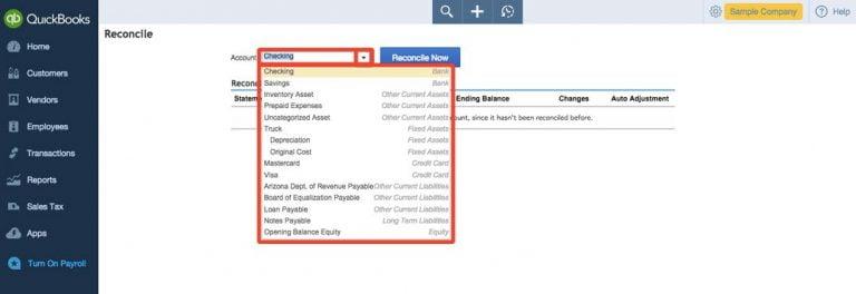 Choose the Bank or Credit Card Account - Screenshot