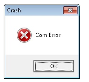 Com Crash Error Message - Screen Shot