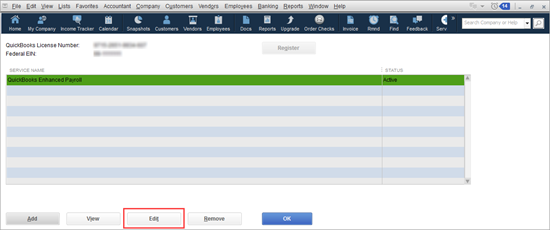 Enter or Edit your payroll service key in QuickBooks - Image Number 4 - Screenshot