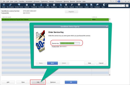 Enter or Edit your payroll service key in QuickBooks - Image Number 5 -  Screenshot