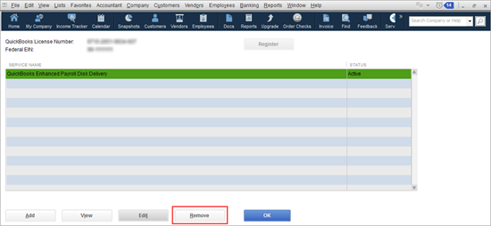 Enter or Edit your payroll service key in QuickBooks - Image Number 6 -  Screenshot