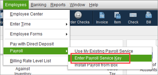 Enter or Edit your payroll service key in QuickBooks - Screenshot