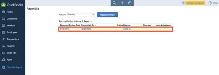 Examine the Reconciliation Report - Screenshot
