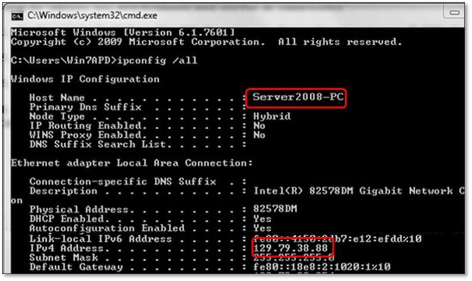 Finding the IP address and computer name of the server - screenshot