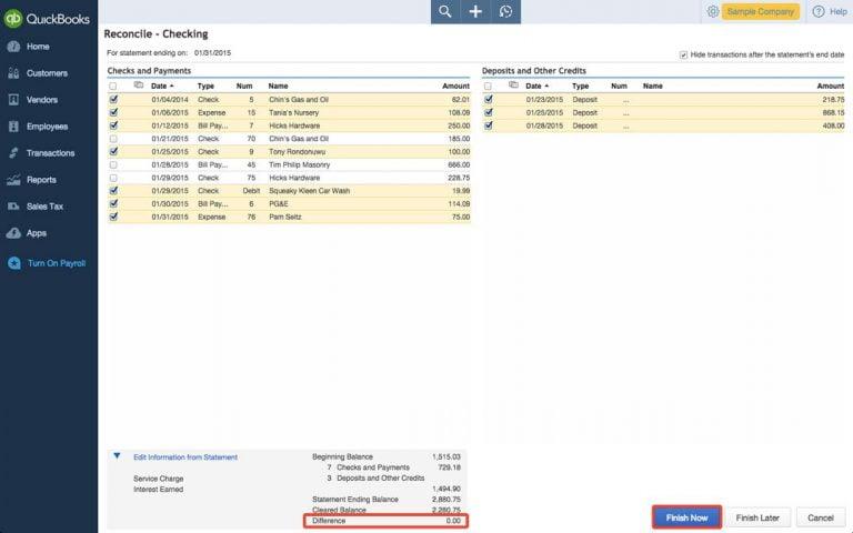 Finish Reconciliation in QuickBooks - Screenshot