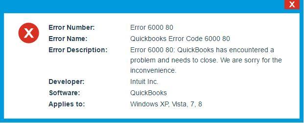 Intuit QuickBooks Error Code -6000 -80 - Screenshot