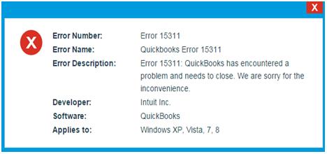 Intuit QuickBooks Error Message - 15311