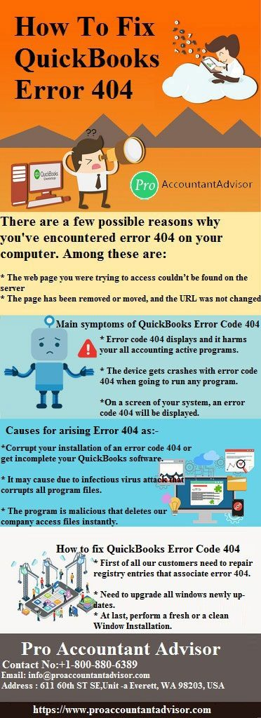 QuickBooks Error 404 infographic Pro Accountant Advisor