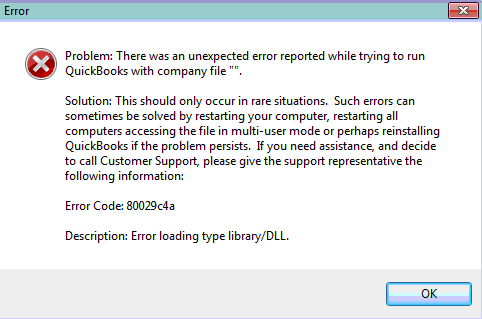 QuickBooks Error Code 80029c4a Error Message - Screenshot
