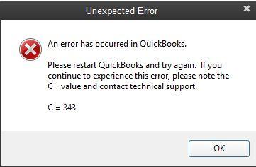 QuickBooks Error Code C=343 Message - Pro Accountant Advisor