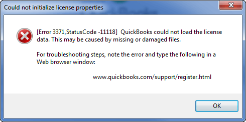 quickbooks error 3371 status code 11118 - Screenshot