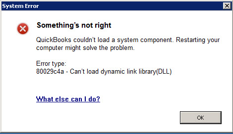 QuickBooks Error Code Message 80029c4a - Error loading type library-DLL - Screenshot