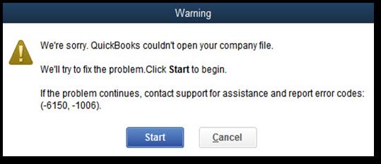 QuickBooks Error Message -6150, -1006 - Screenshot