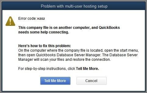 QuickBooks Error Message H202 -Screenshot