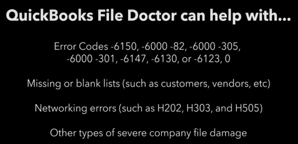 QuickBooks File Doctor Resolves Following Errors - Screenshot