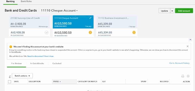 QuickBooks Online Banking Error Message 106 168 or 324-proaccountantadvisor
