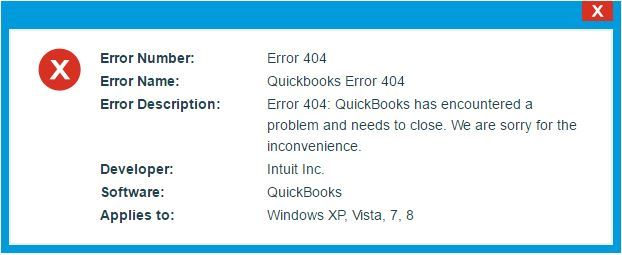 QuickBooks Status Message 404 Error