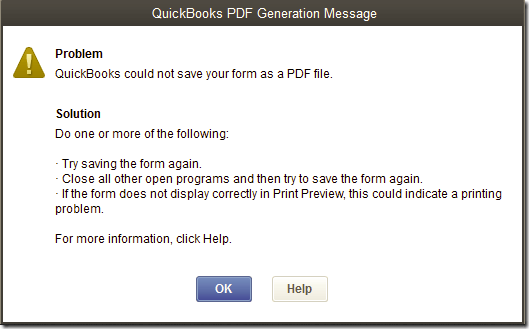QuickBooks Unable to Create PDF Issue