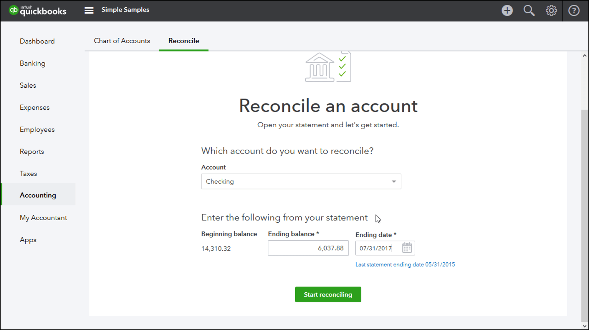 Reconcile An Account In QuickBooks