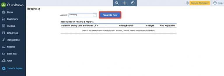 Reconcile Now Option - Screenshot