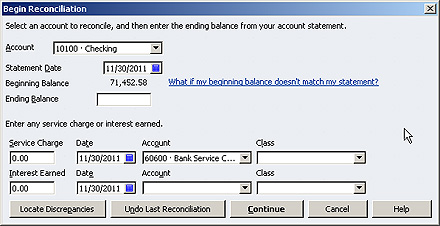 Reconciliation in quickbooks