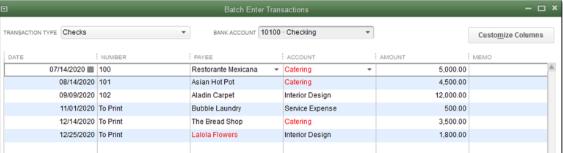 To enter transaction by batch -3 - Screenshot