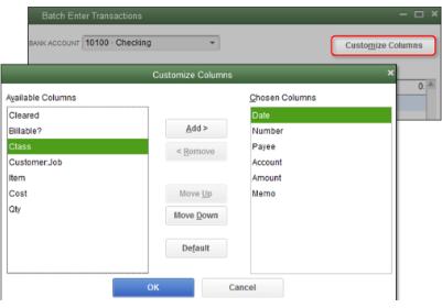 To use class in QuickBooks Desktop - screenshot